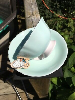 Lovely Vintage Butterfly Handle Paragon Tea Cup & Saucer Blue Numbered