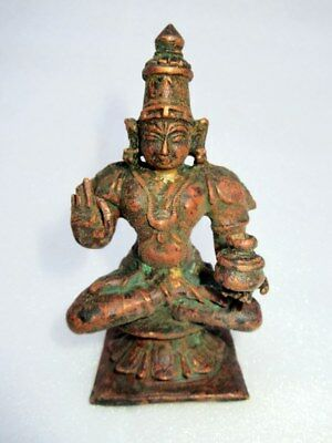 Antique Old Rare Hand Carved Copper South Indian Hindu God Gurda Figure Statute