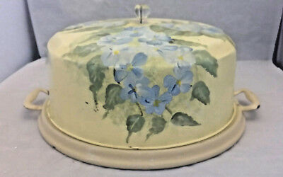 Antique Tin/Metal Cake Plate & Cover Hand-Painted (Mae '10) Blue Violets