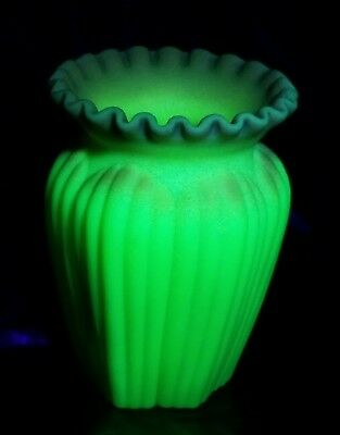 "Fenton  5"" Burmese Ribbed Melon  Vase---Made In The 1970's"