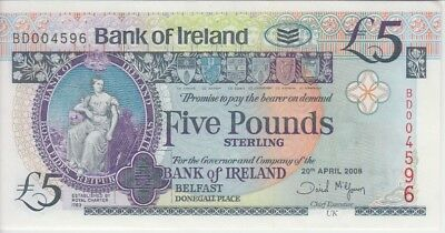 Northern Ireland Banknote- Bank of Ireland P83 5 Pounds 2008, UNC