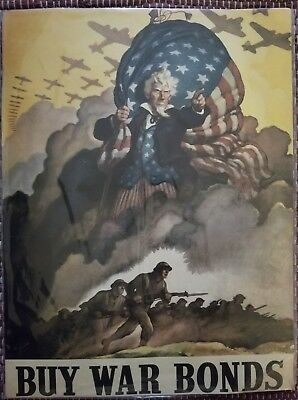 PROPAGANDA WWII WAR USA BOND STARS STRIPES FLAG ART POSTER PRINT LV3788