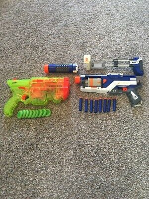 Nerf Gun Lot Of 2 With Bullets/Discs