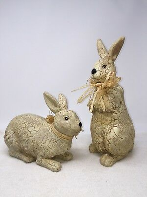 Pair Vintage Style Bunny Rabbits with Straw Bows Easter Figurines Hollow Resin