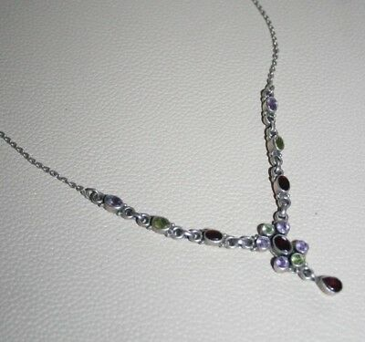 Vintage Solid Silver Necklace With Multi Coloured Stones Hallmarked 925