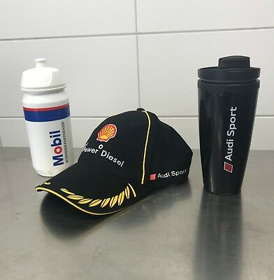 Audi Sport Racing Set, Fan Kappe, Thermobecher, Trinkflasche, Audi, Shell, Mobil