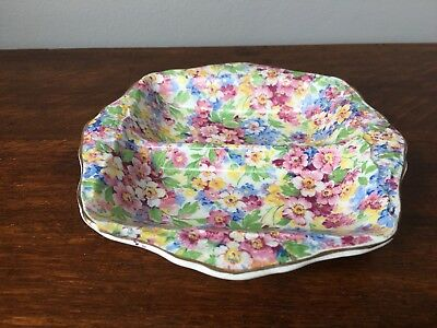 Vintage floral chintz pattern sectioned dish in 'apple blossom' design -16cm sq