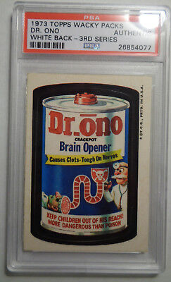 """Wacky Packages Rare 3rd series WHITE BACK """"Dr. Ono"""" PSA Authentic+"""