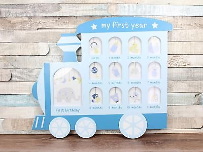 Blue My First Year Train Multi Photo Frame Collage Baby Boy
