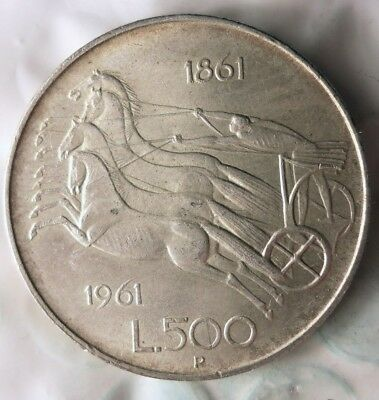 1961 ITALY 500 LIRE - AU - Uncommon Vintage Silver Coin - Lot #810