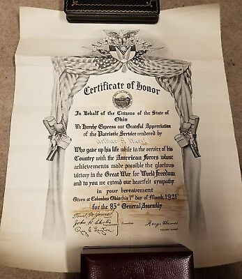 Stunning WW1 Ohio KIA Killed In Action Document Awarded to Family By Goverment