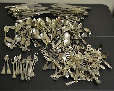 Silverplate Flatware Lot Forks Spoons Knives Older Collectible 18+ Lbs 200+ pcs