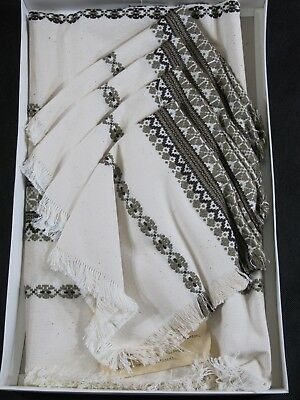 Rare Vintage Hungarian Weave Large Table Cloth Runner with Four Napkins New