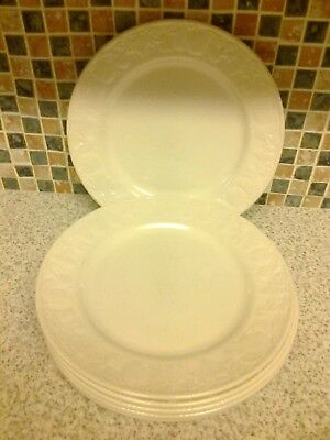 Bhs British Home Stores Lincoln Embossed Fruit Design 6 X Dinner Plates