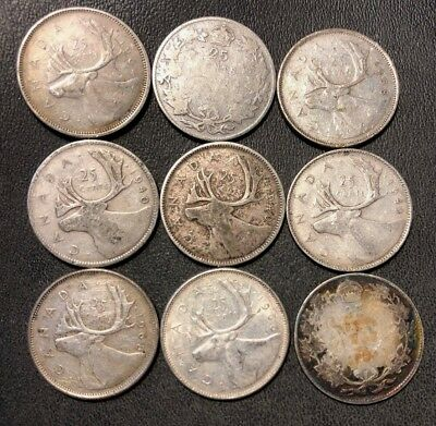 Old Canada Coin Lot - 1919-1968 - SILVER QUARTERS - 9 Coins - Lot #810