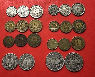 Syria- Lot Of 22 Syrian Rare Coins 1929 To 1974...good Opportunity.