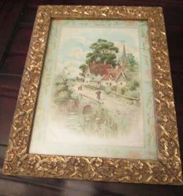 "Antique Picture Frame Ornate Wood Gold / Gilt Gesso Floral 1800s 15.5 X 12"" NICE"