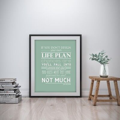 Jim Rohn Inspirational Wall Art Print Motivational Quote Poster Decor Gift Him