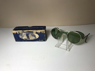 Antique Bausch & Lomb Green Safety Sunglasses Goggles Vintage w/ Box - Steampunk