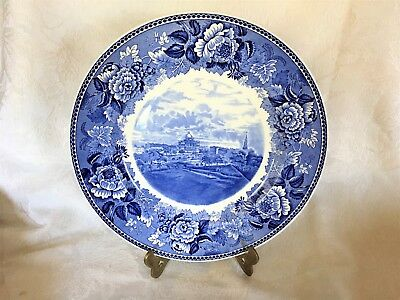 Beautiful Vintage Wedgwood SC&L Blue & White Plate Boston Common, State House