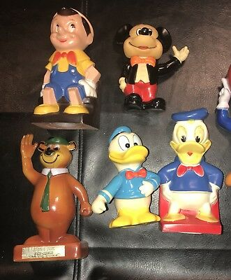5 Vintage Disney Plastic Banks Mickey Mouse Pinocchio Donald Duck Yogi Bear