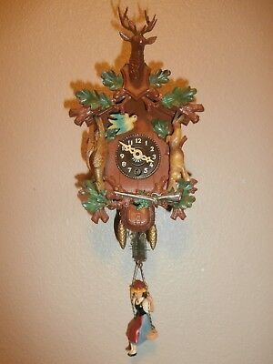 Vintage J. ENGSTLER Miniature Novelty Cuckoo Clock w/BOUNCING GIRL--Collectible!