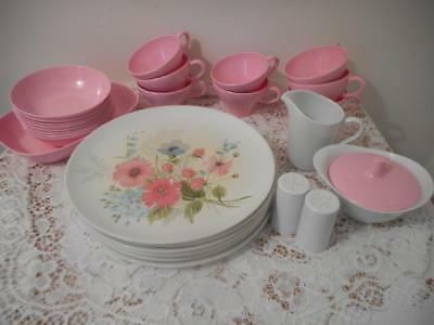 Vtg  Dinnerware Set  Texas Ware Melamine Camping Patio 29 pcs