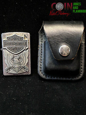 inv#3650 ZIPPO SIGNED HARLEY DAVIDSON LIGHTER WITH LEATHER CASE