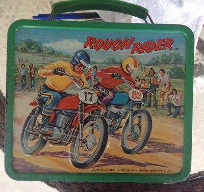 Nice Vintage 1973 Rough Rider Motocross Racing Metal  Lunchbox No Thermos