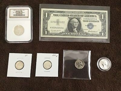 1999 S Connecticut State Quarter And Unc 1957 Silver Certifcate And Coins