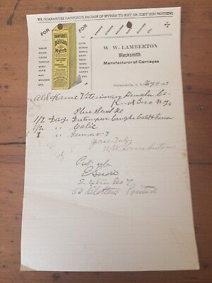 LAMBERTON BLACKSMITH MANUFACTURER OF CARRIAGES 1917 letterhead Brainerdsville NY