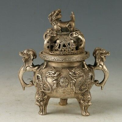 Chinese Copper Hand carved Dragon Incense Burner W Xuande Mark MY0708