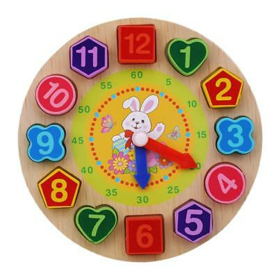Wooden Clock Jigsaw Block Puzzle Kids Montessori Time Educational Toys FW