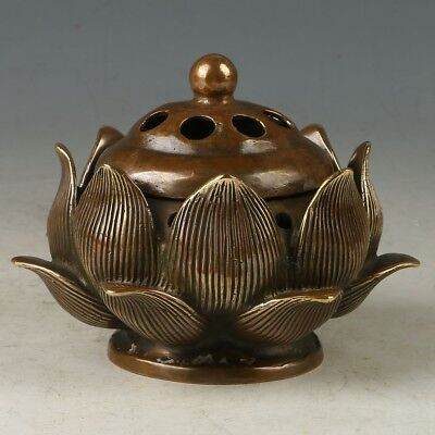Chinese Copper Hand-carved lotus Incense Burner W Qianlong Mark MY0709