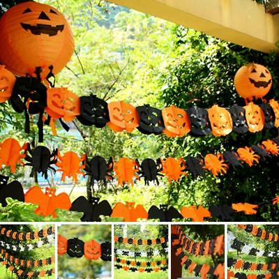 Halloween Scary Garland Pumpkin Spider Hanging Paper Ghost House Party Decor NEW