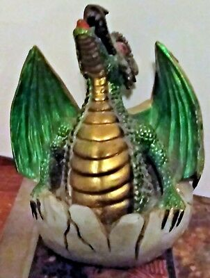 Incense Burner Baby Hatching Dragon Gold Trimmed Iridescent Green Smoking Mouth