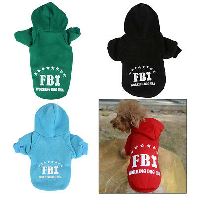 Chic Pet Dog Winter Warm Hoodie Cloth Cotton Sweater Clothes FBI Hoodie Outfit