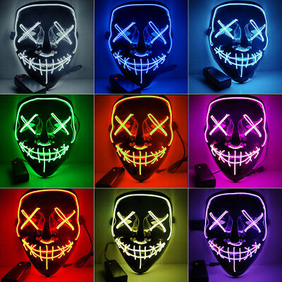"""Halloween Hot Light Up Mask """"Smiling Stitched"""" El Wire Rave Cosplay Edm Purge"""