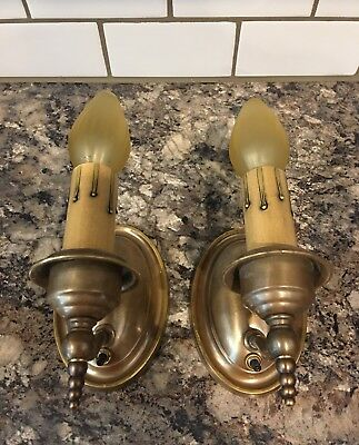Wired Pair Antique Brass Wall Sconce Fixtures W/ Wired On Off Switches 1A