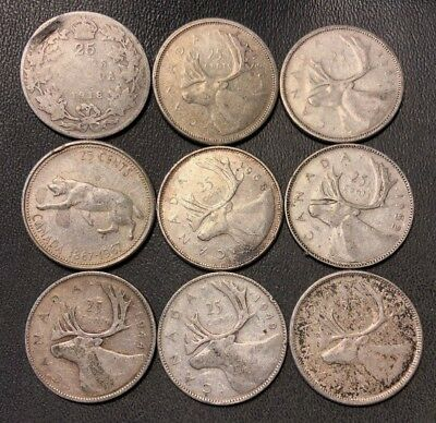 Old Canada Coin Lot - 1918-1968 - SILVER QUARTERS - 9 Coins - Lot #811