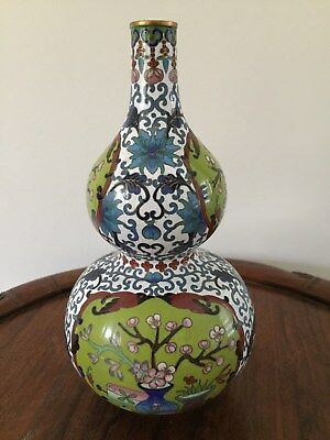 19th/20thc Chinese Cloisonne Vase Flowers Motifs  22cm tall #2