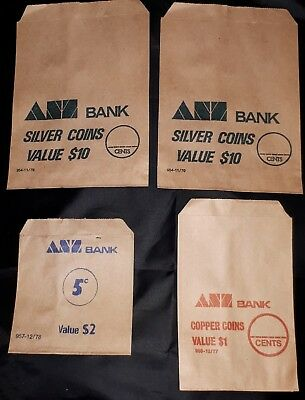 ANZ Bank Paper Money Bags Vintage 1970's VERY RARE Lot of 4 (Australian) As New