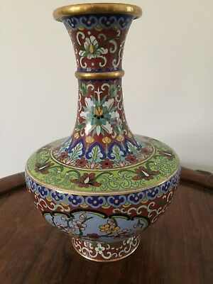19th/20thc Chinese Cloisonne Vase Flowers Motifs  19cm tall #2