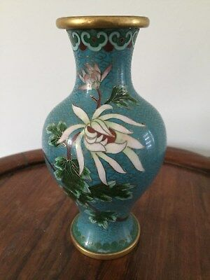 19th/20thc Chinese Cloisonne Vase Flowers Motifs  15.5cm tall #2