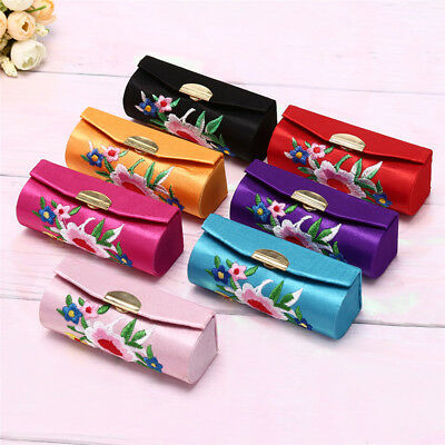 Lipstick Case Embroidered Holder Flower Design With Mirror Packaging Box-