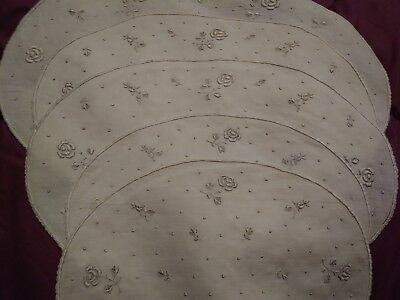 5 Beautiful Appenzel or Madeira Embroidered Linen Doilies