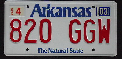 2003 ARKANSAS The Natural State License Plate 820 GGW