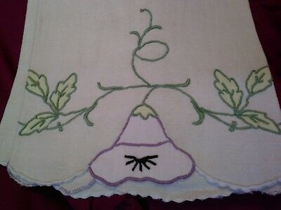 "Beautiful Madeira Applique and  Embroidered  Linen Hand Towel 33"" x 20"""