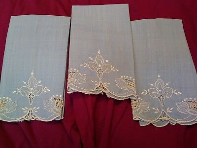 """3 Beautiful Madeira Embroidered with Lace Incets Linen Hand Towels 14"""" x 8"""""""