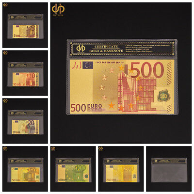 7Pc REALISTIC 24K GOLDEN Euro 5-500 World  Rep.*Banknotes~~FREE-SHIPPING IN U.S